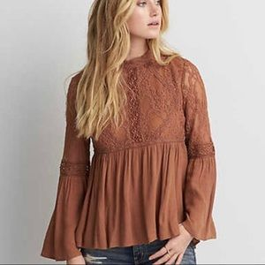 American Eagle Outfitters Lace Boho Peasant Top